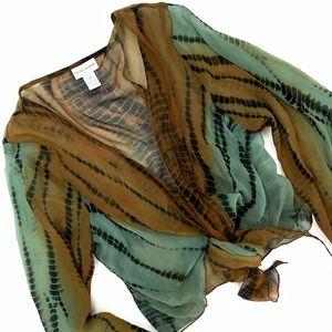 Soft Surroundings 100% Silk Tie-dye Reptile Kimono